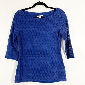 Banana Republic Blue Boat Neck 3/4 Sleeve Lace Top